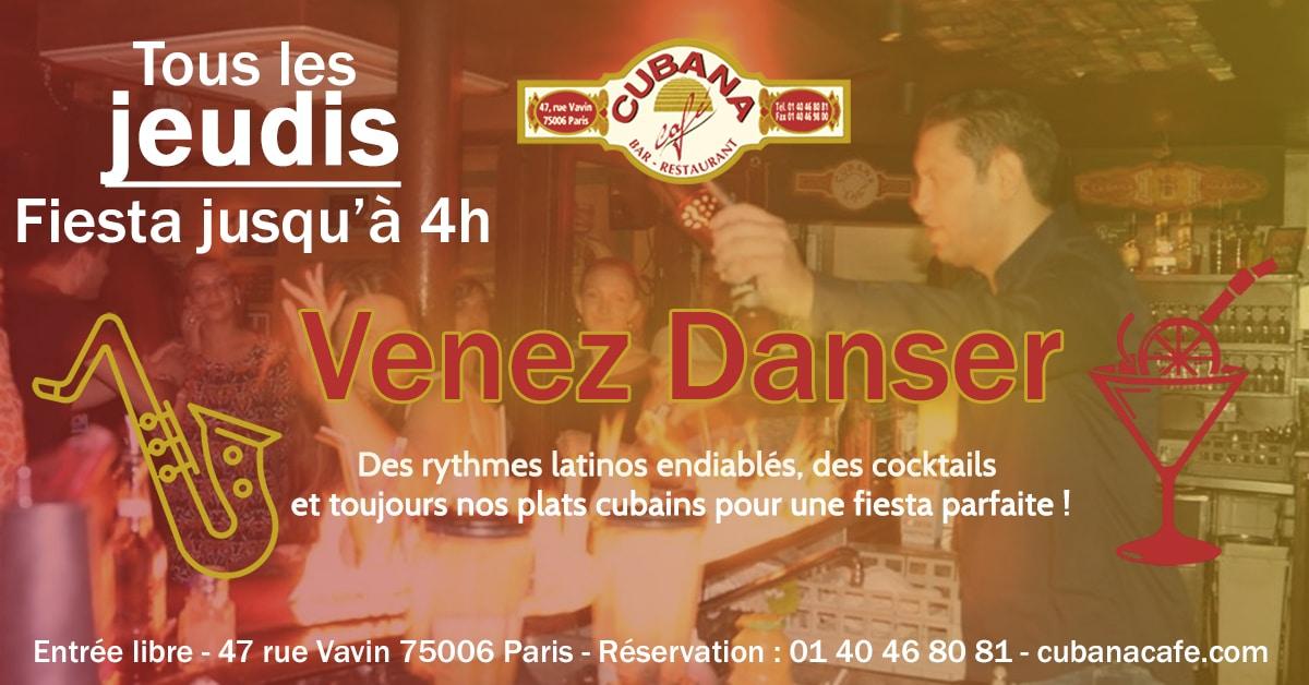 Cubana Café Venez danser les jeudis à Montparnasse. Restaurant Bar à Cocktails