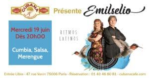 Cubana Café - Concert acoustique Emilselio mercredi 19 juin 2019 - Bar Restaurant Fumoir Paris Montparnasse