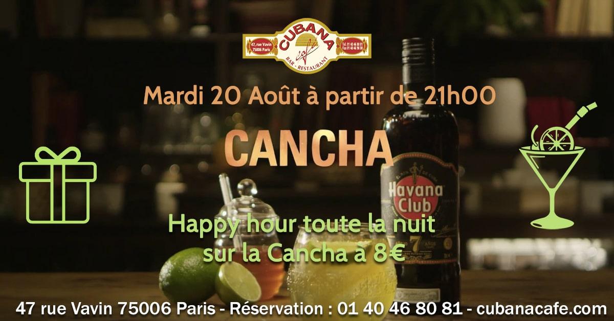 soirées latines parisiennes août et Rhum cubain Havana Cancha le 20 août 2019 Bar à cocktails, fumoir, restaurant Paris Montparnasse