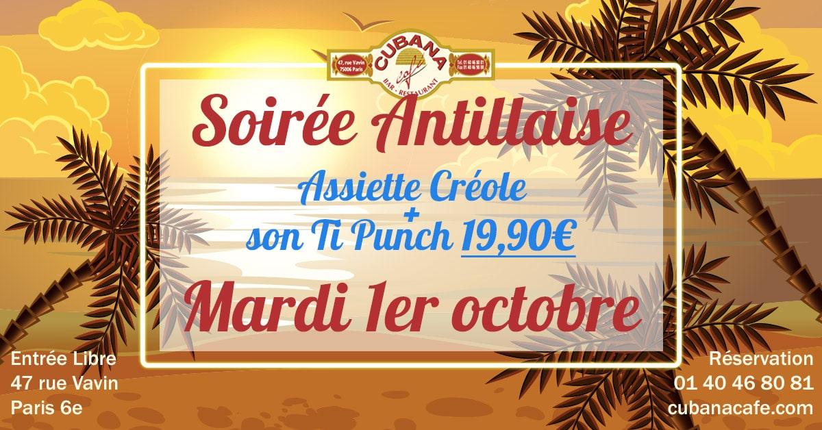 Soirée Antillaise le mardi 1er octobre 2019 au Cubana Café