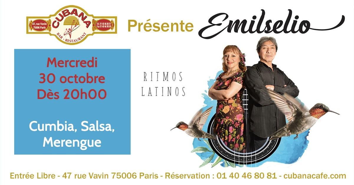 Cubana Café - Concert acoustique Emilselio mercredi 30 octobre 2019 - Bar Restaurant Fumoir Paris Montparnasse