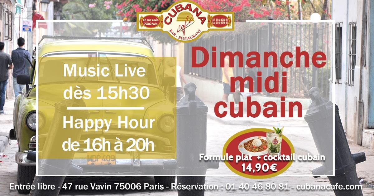 Cubana Café Formule restaurant plat et cocktail à 14,9€ et concert acoustique tous les dimanches midi