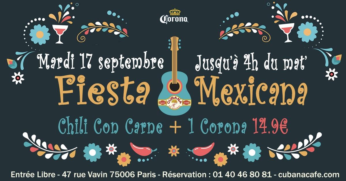 Fiesta Mexicana avec Corona le 17 septembre 2019 au Cubana Café Restaurant Montparnasse