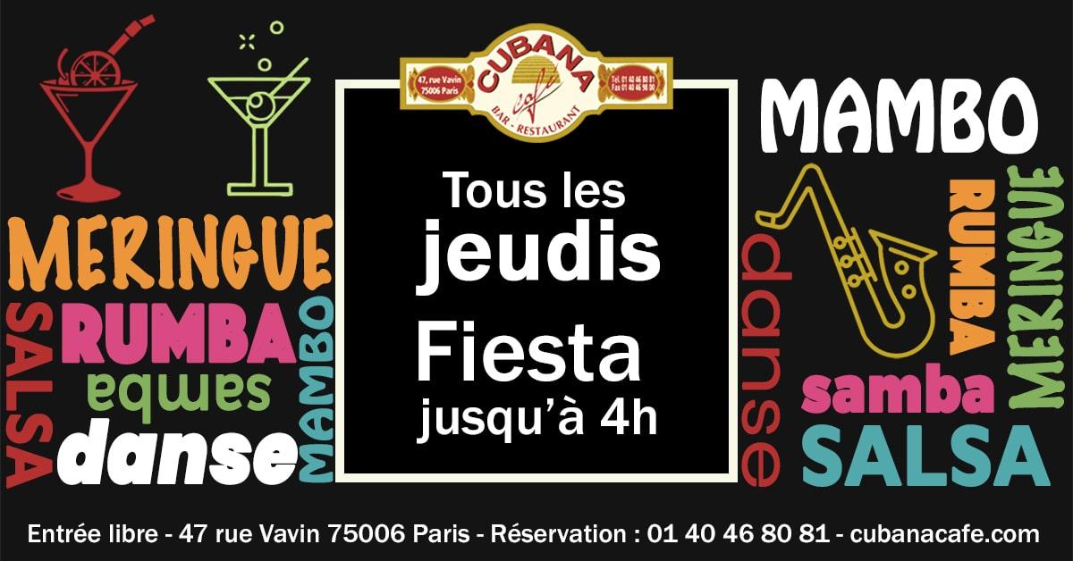 Les soirées cubaines du jeudi soir au Cubana Café - Bar restaurant fumoir à Montparnasse
