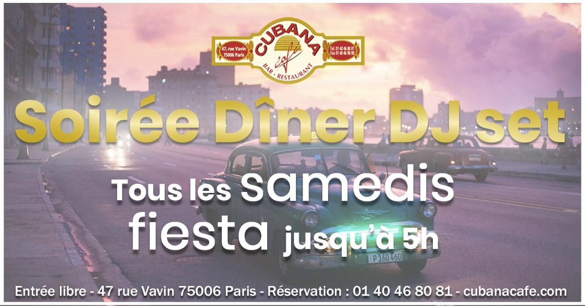 Cubana Café Les samedis fiesta de juillet 2019 - Soirée latine le vendredi et animation DJ - Restaurant, bar à cocktails, fumoir - Paris Montparnasse