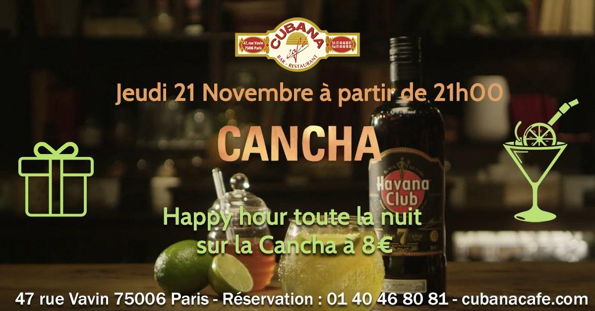 Soirée Cubana Café et Rhum cubain Havana Cancha le 21 Novembre 2019 Bar à cocktails, fumoir, restaurant Paris Montparnasse