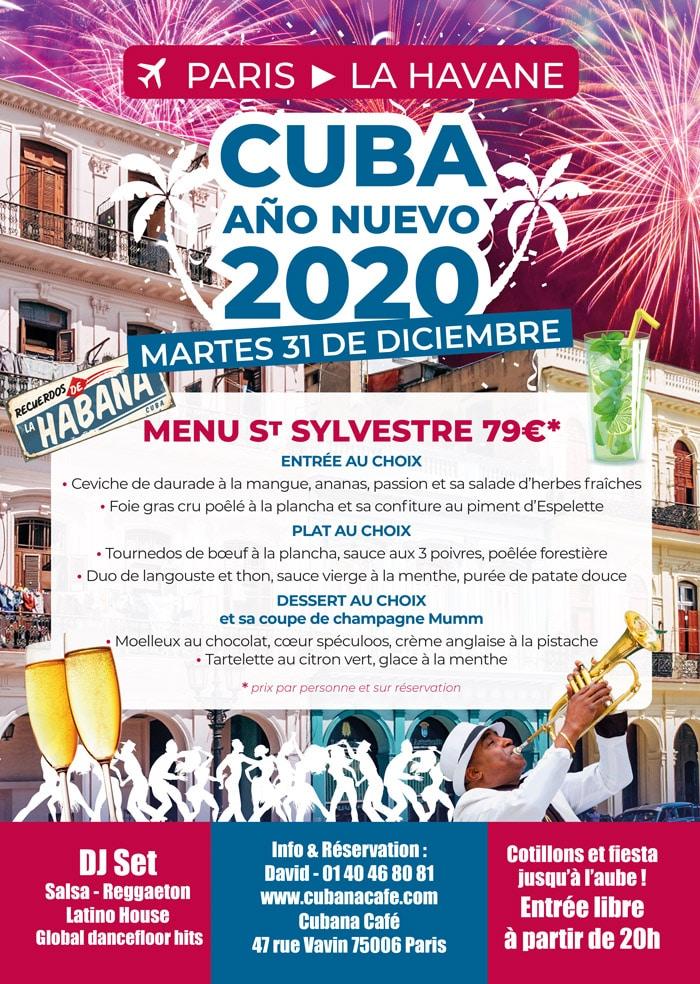Cubana Café -St Sylvestre faire la fête du 31 décembre à Paris comme à Cuba