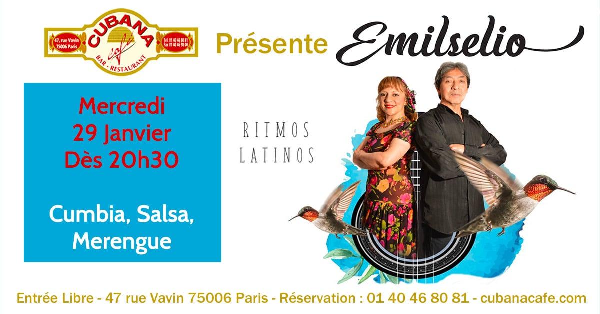 Cubana Café - Concert acoustique Emilselio mercredi 29 janvier 2020 - Bar Restaurant Fumoir Paris Montparnasse