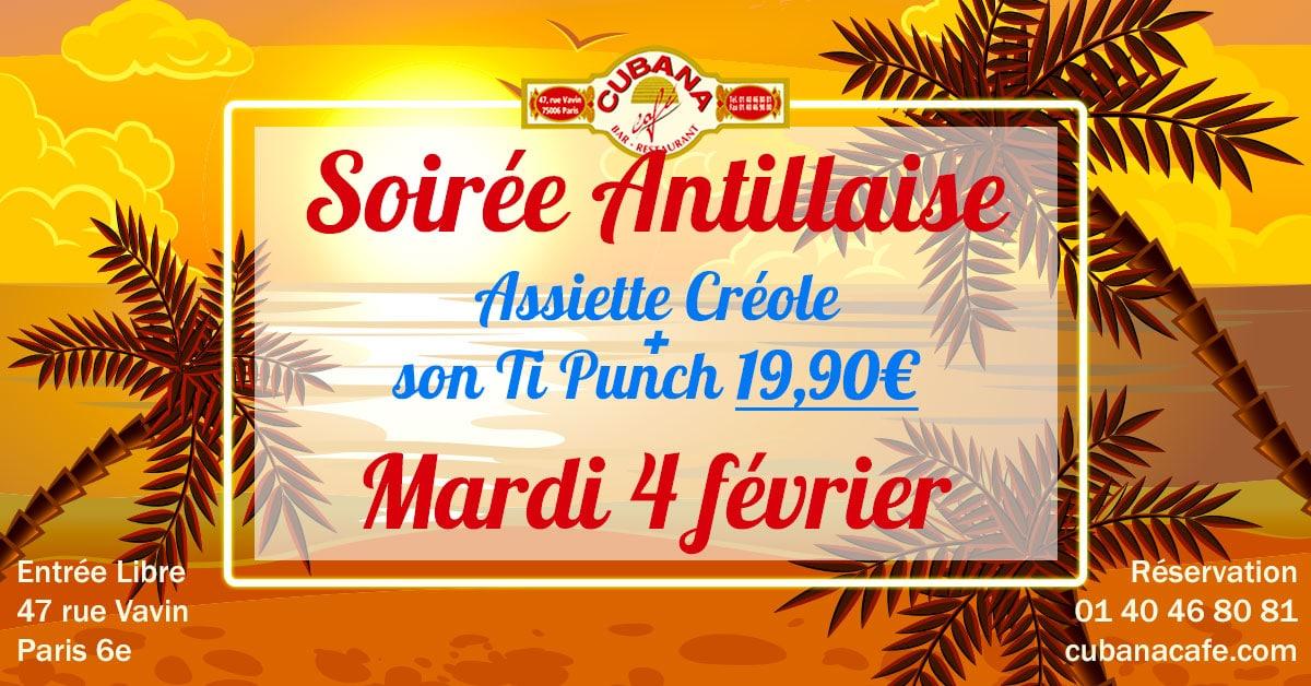 Cubana café mardi soirée antillaise dans notre restaurant à Montparnasse -4 février 2020