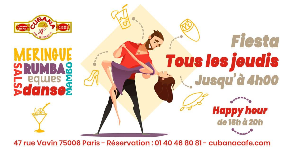Les soirées et afterworks cubains du jeudi soir au Cubana Café - Bar restaurant fumoir à Montparnasse