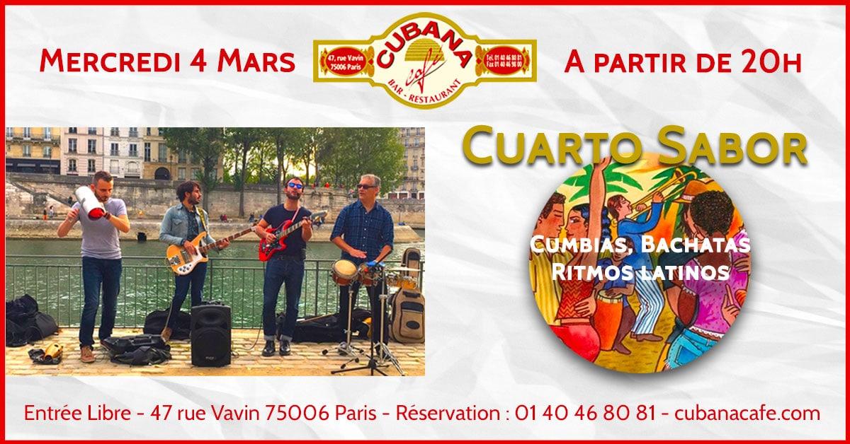 Cubana Café Concert Cuarto Sabor mercredi 4 mars 2020
