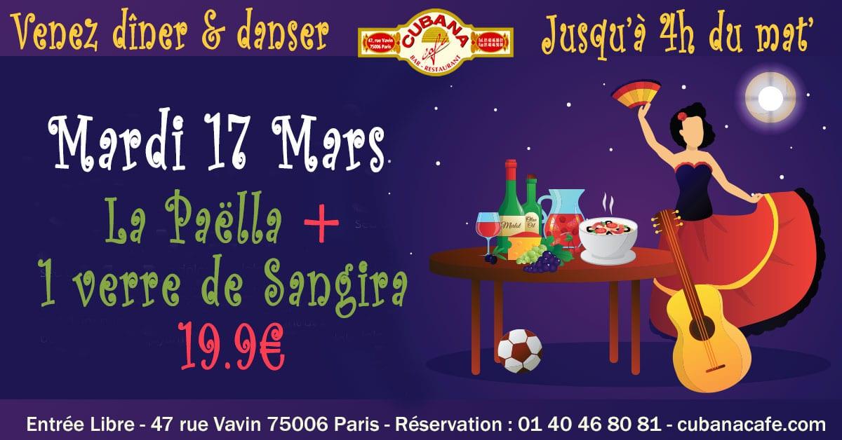 Votre restaurant à Montparnasse vous propose sa formule Paëlla y Sangria à 19.9€ le mardi 17 mars 2020 - Cubana Café