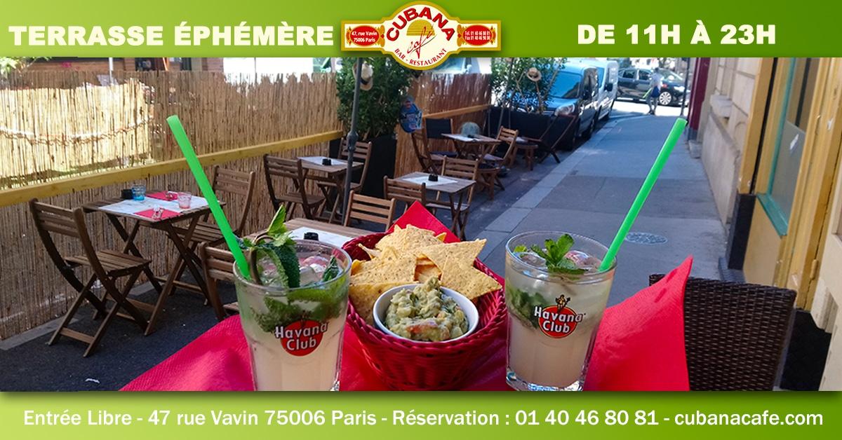 La terrasse éphémère cubaine à Montparnasse Cubana café Paris