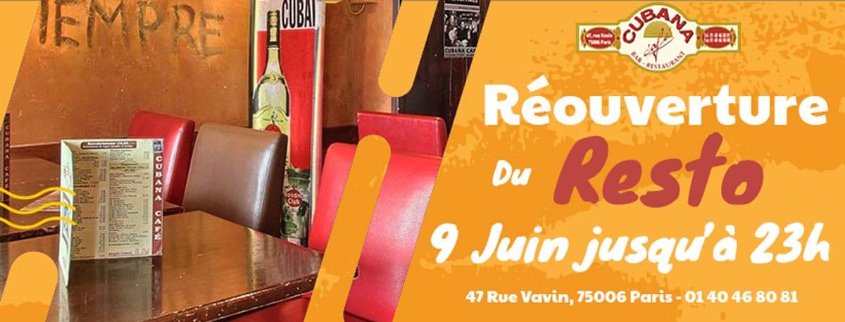 Affiche Cubana Café réouverture du restaurant le 9 juin 2021