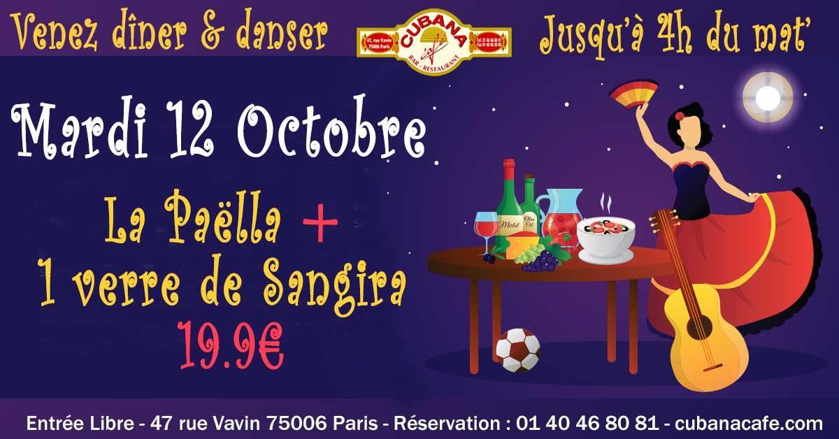 Votre restaurant à Montparnasse vous propose sa formule Paëlla y Sangria à 19.9€ le mardi 12 octobre 2021 - Cubana Café
