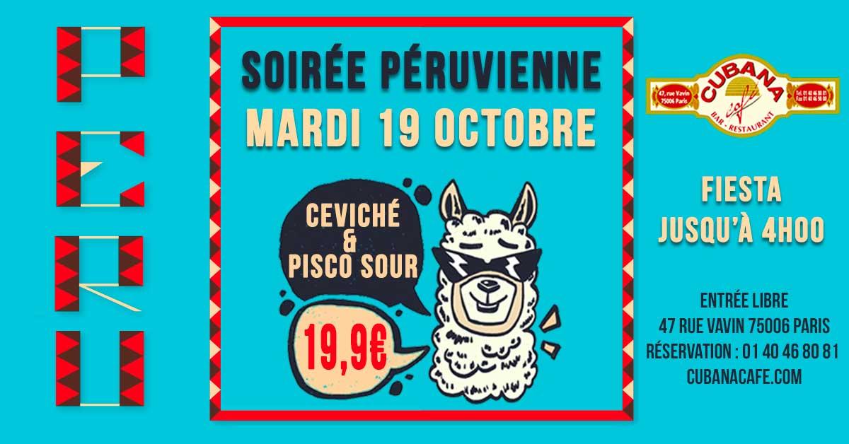 Cubana Café - Soirée Péruvienne le 19 octobre